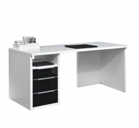 Kancelársky stôl Work - Stôl, 3x zásuvka (biela, čierne sklo)