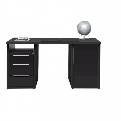 Kancelársky stôl Work - Stôl, 3x zásuvka, skrinka, 1x police (antracit)