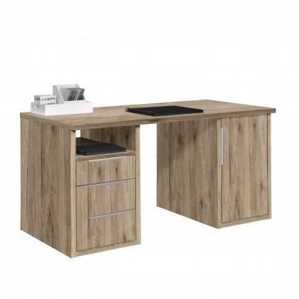 Kancelársky stôl Work - Stôl, 3x zásuvka, skrinka, 1x police (dub)