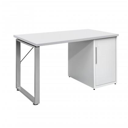 Kancelársky stôl Work - Stôl, skrinka, 1x police, 140x74x70 (biela)