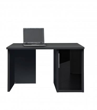 Kancelársky stôl Work - Stôl, skrinka so sklom, 1x police (čierna, čierne sklo)