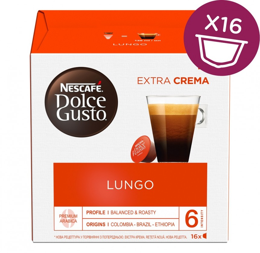 Kapsule, náplne Kapsule Nescafé Dolce Gusto Caffé Lungo Mild, 16ks