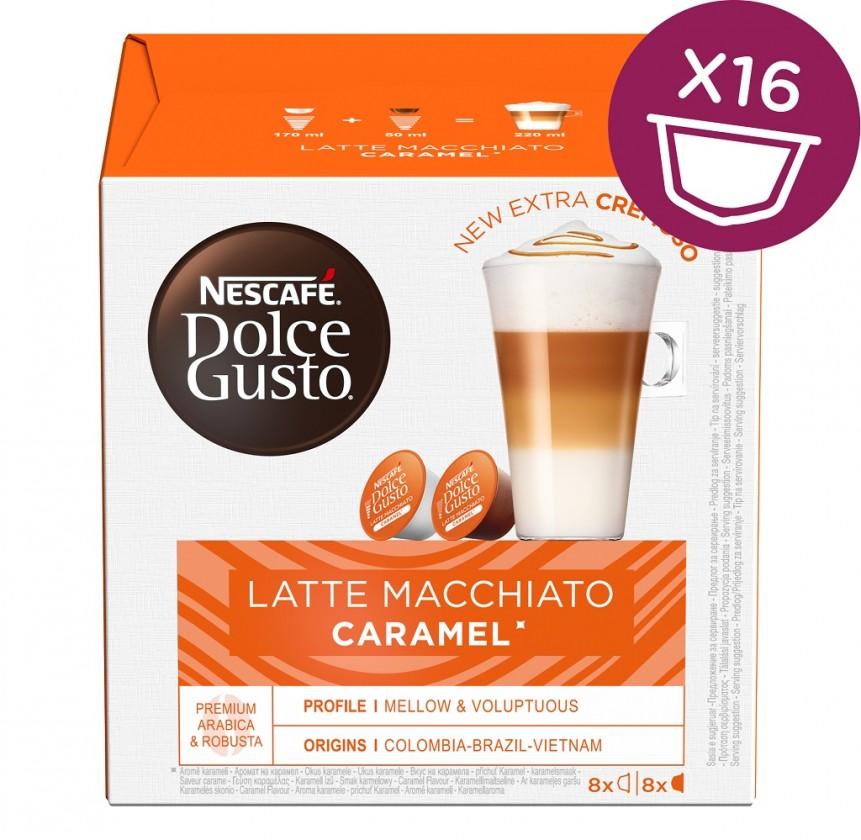 Kapsule, náplne Kapsule Nescafé Dolce Gusto Latte Macchiato Caramel, 16ks