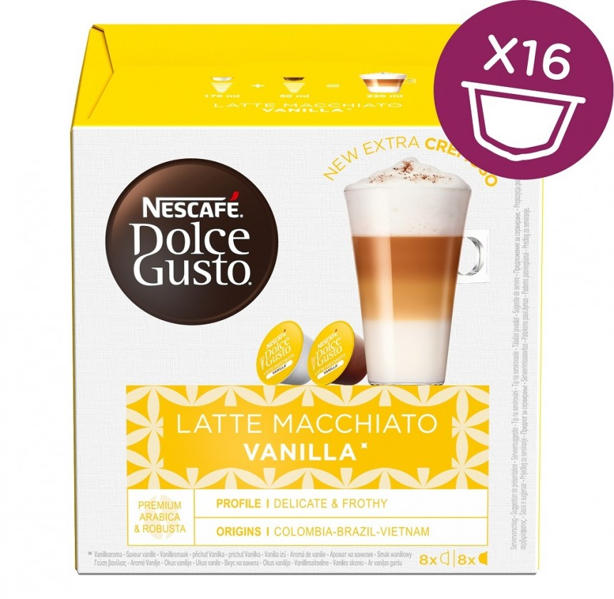 Kapsule, náplne Kapsule Nescafé Dolce Gusto Latte Macchiato Vanilla, 16ks