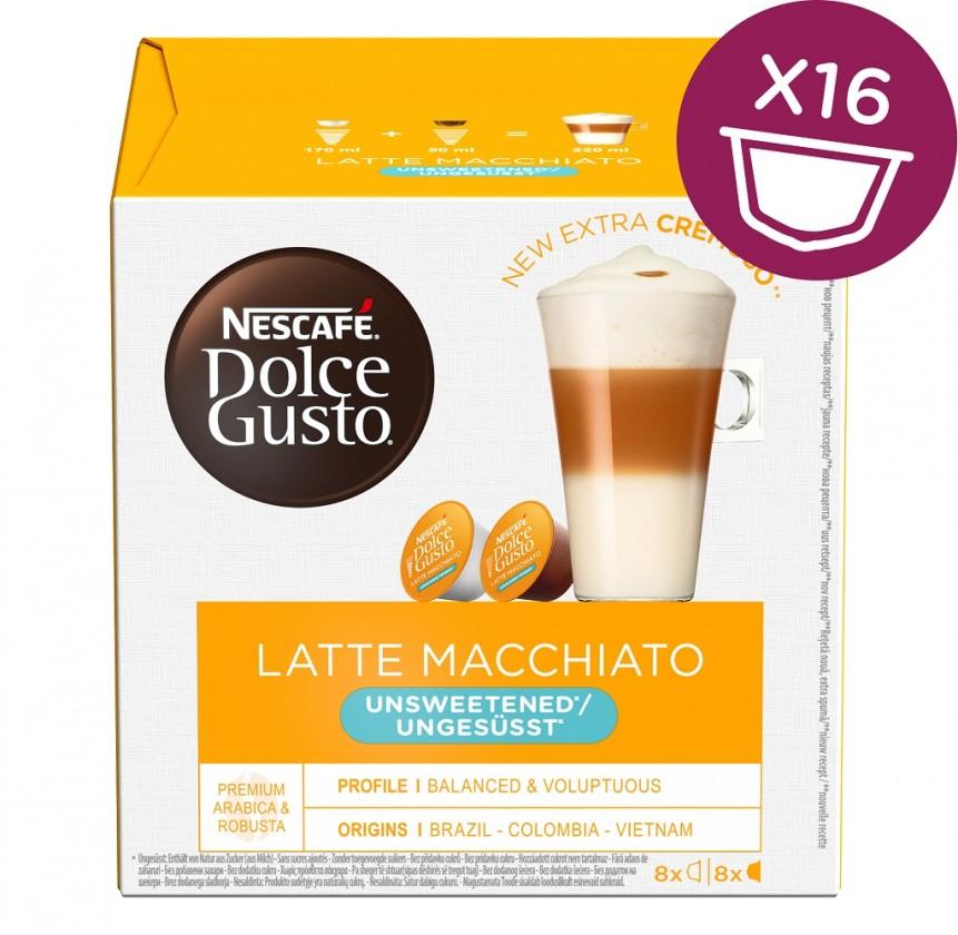 Kapsule, náplne Kapsule Nescafé Dolce Gusto Latté Macchiatto bez cukru, 16ks