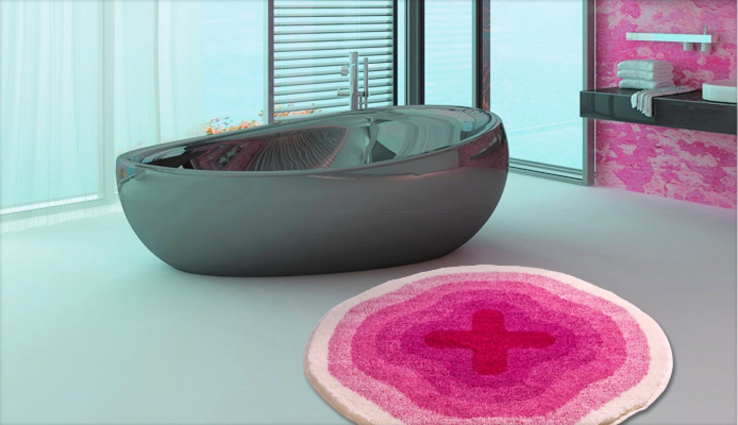 Karim 03 - Předložka kruh 90 cm (ružová)