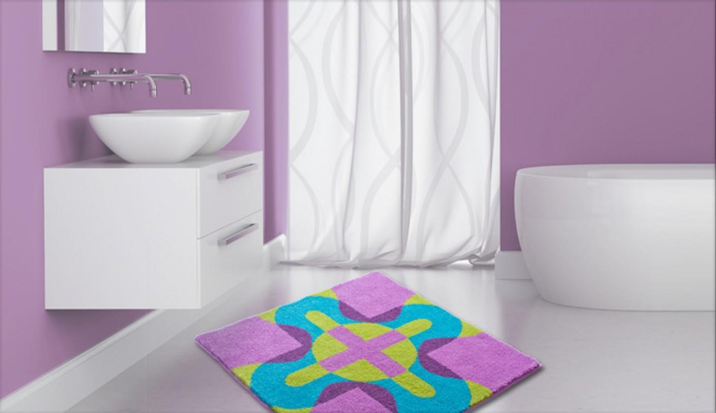 Karim 26 - Kúpeľňová predložka 90x90 cm (fialová)