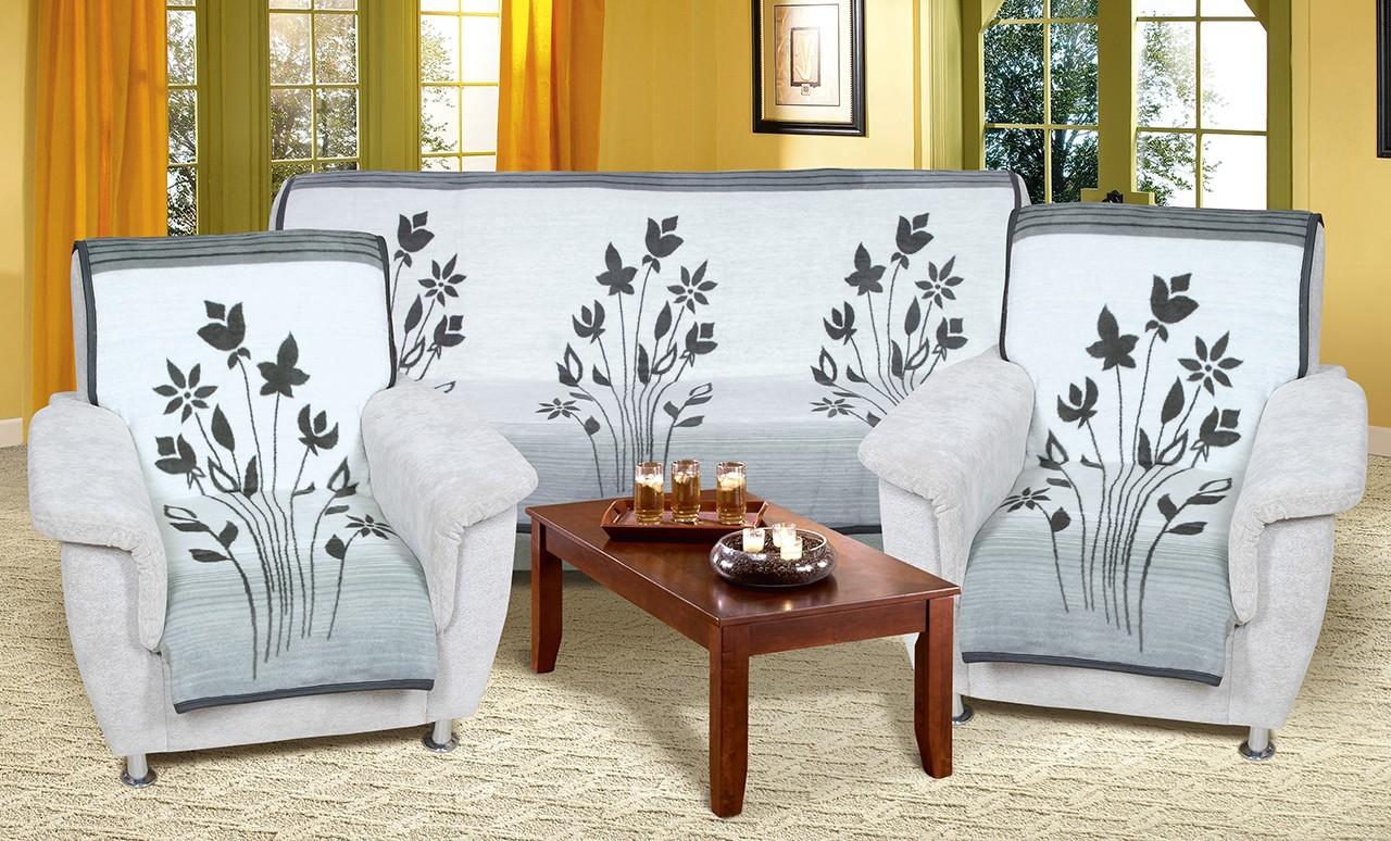 Karmela Plus - Prehozové deky, 2457/840 (sivé kvety)