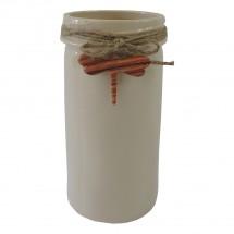Keramická váza VK40 béžová s vážkou (26 cm)