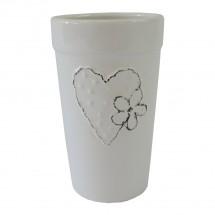 Keramická váza VK43 biela zo srdiečkom a kytičkou (18 cm)