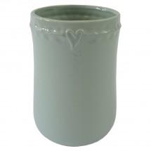 Keramická váza VK49 mätová zo srdiečkom (17 cm)