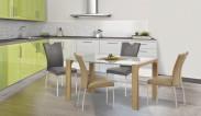 Kevin  - jedálenský stôl (sklo - biela/dub sonoma)