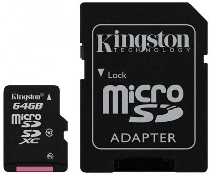 Kingston Micro SDXC 64GB Class 10 + adaptér - SDCX10/64GB ROZBALE