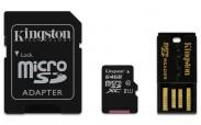 Kingston Micro SDXC 64GB Class 10 UHS-I + SD adaptér,USB čítačka