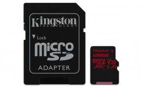 Kingston Micro SDXC Canvas React 128GB 100MB/s UHS-I +SD adaptér