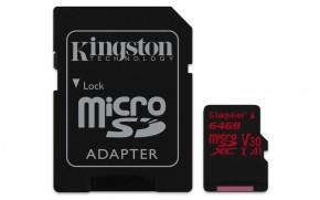 Kingston Micro SDXC Canvas React 64GB 100MB/s UHS-I + SD adaptér
