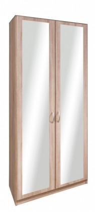 Klasická Cassanova - Šatníková skriňa,2x dvere so zrkadlom(dub bardolino)