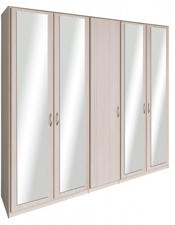 Klasická Cassanova - Šatníková skriňa(4x dvere so zrkadlom,jaseň coimbra)
