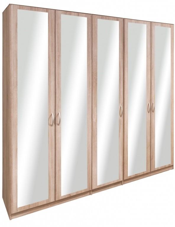 Klasická Cassanova - Šatníková skriňa (5x dvere so zrkadlom)