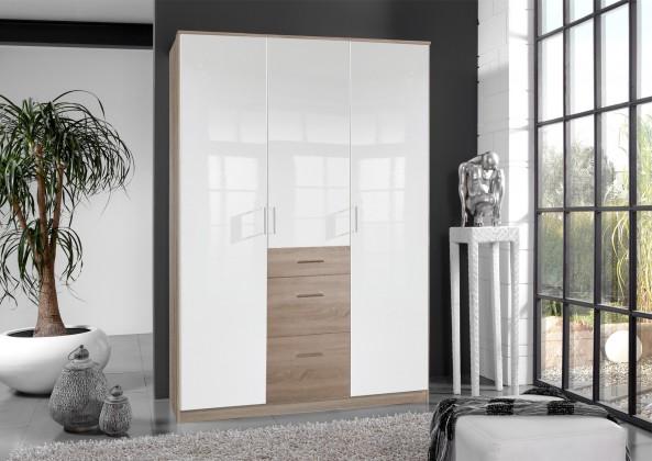 Klasická Clack - Skriňa, 3x dvere (dub, biela)
