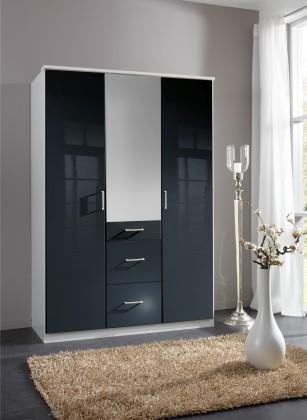 Klasická Clack - Skriňa, 3x dvere, zrcadlo (čierna, biela)