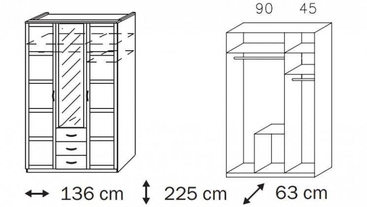Klasická Elementa A A1006.50R3 (Buk natur/sklo bordó)