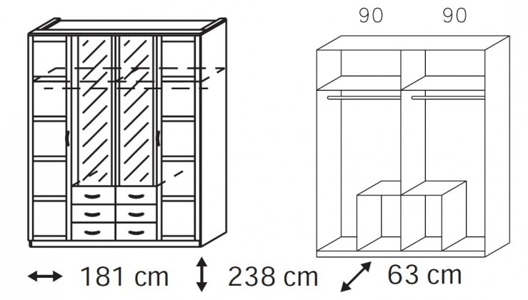 Klasická Elementa A-šatní skříň,2x dveře,2x dveře se zrcadlem,6x zásuvka