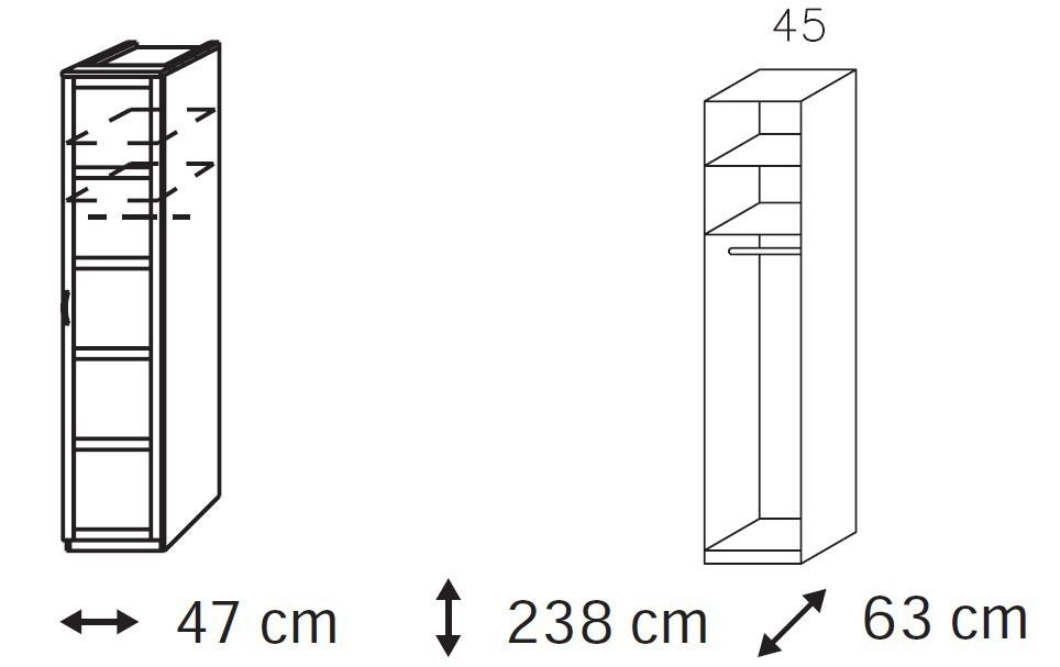 Klasická Elementa A - šatníková skriňa, 1x dvere