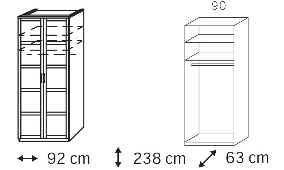 Klasická Elementa A - šatníková skriňa, 2x dvere