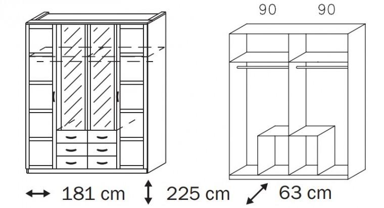 Klasická Elementa B A1007.50S4 (Buk natur/sklo čierne)