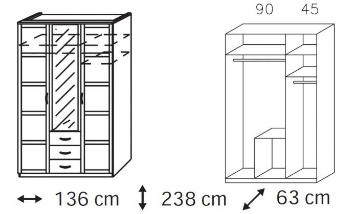 Klasická Elementa B-šatní skříň,2x dveře,1xdveře se zrcadlem,3x zásuvka