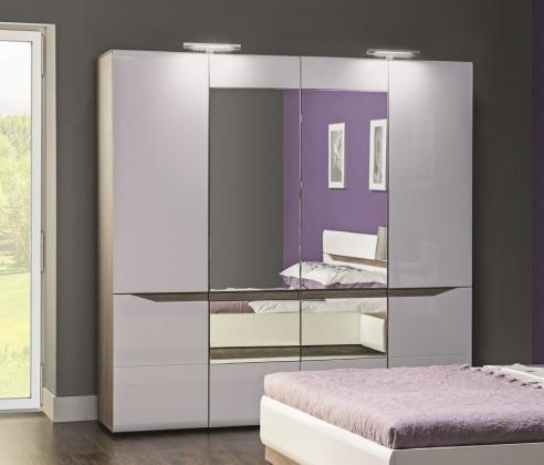 Klasická Leone - Skriňa, 4 dvere, zrkadlo (dub trufel, biela lesk)
