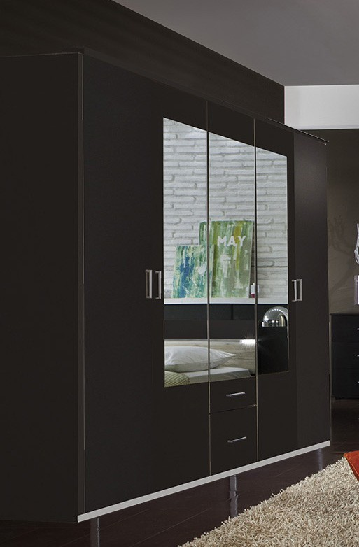 Klasická Madrid - šatníková skriňa, 5x dvere (lava čierna)