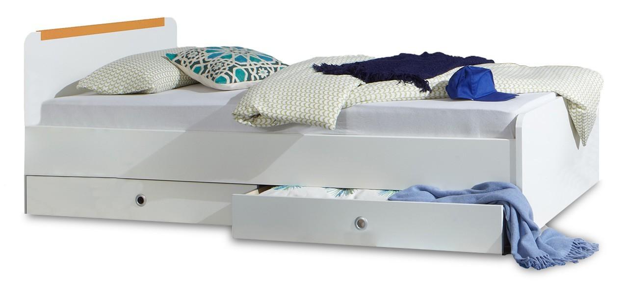 Klasická posteľ Bibi - Posteľ, s úložným priestorom (alpská biela, oranžová)