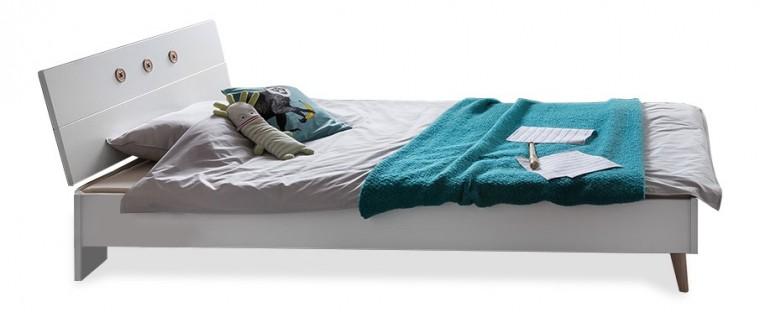 Klasická posteľ Billund - Posteľ 120x200 (alpská biela, dub)