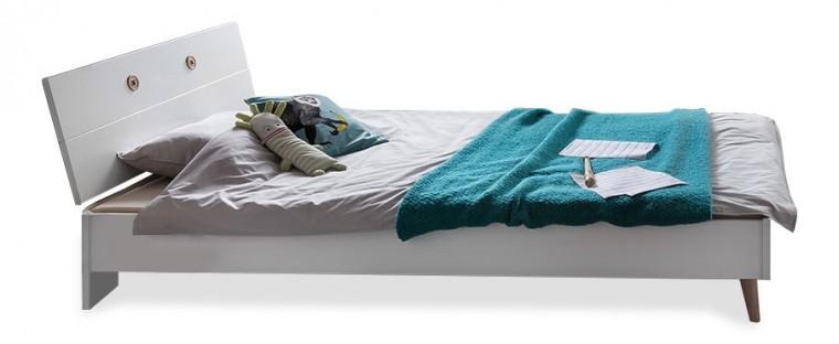 Klasická posteľ Billund - Posteľ 90x200 (alpská biela, dub)