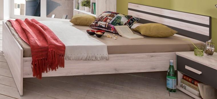 Klasická posteľ Cariba - Posteľ 140x200cm (biela dub, čierna láva)