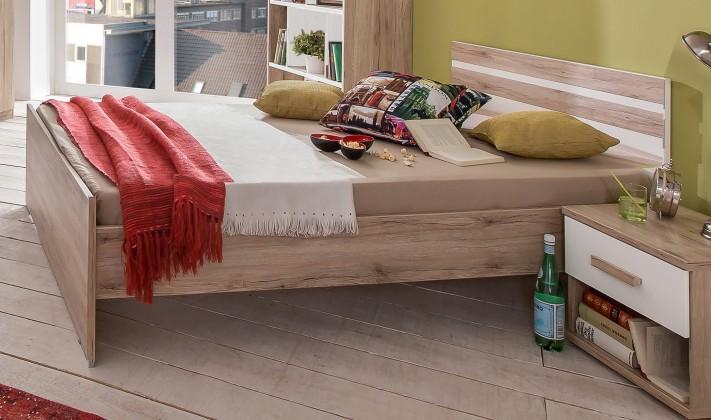 Klasická posteľ Cariba - Posteľ 140x200cm (san remo dub, biela)