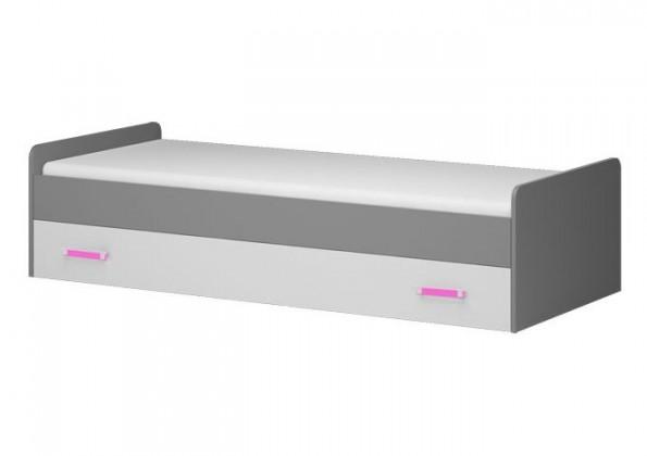 Klasická posteľ Diego 17 - Posteľ (predná strana biela/sivé boky/růžový úchyt)