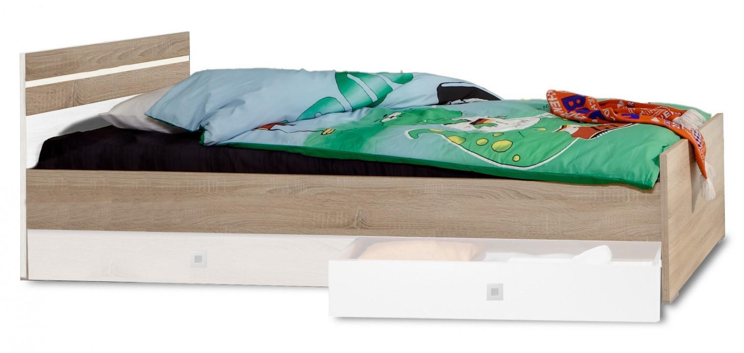 Klasická posteľ Game - Posteľ, 140x200 (biela, dub)