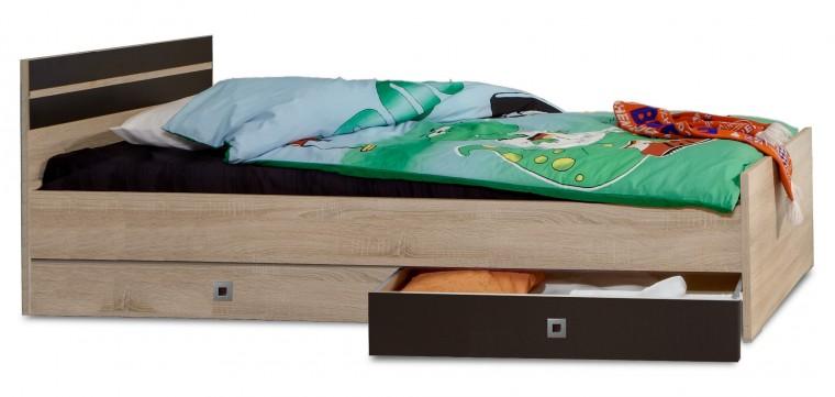 Klasická posteľ Game - Posteľ, 140x200, úložný priestor (dub, čierna)