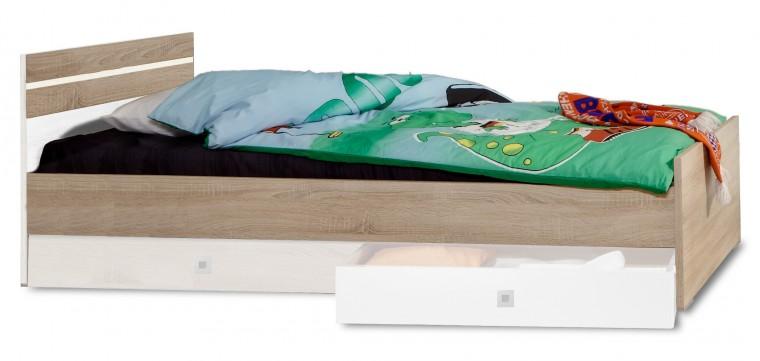 Klasická posteľ Game - Posteľ, 90x200 (biela, dub)