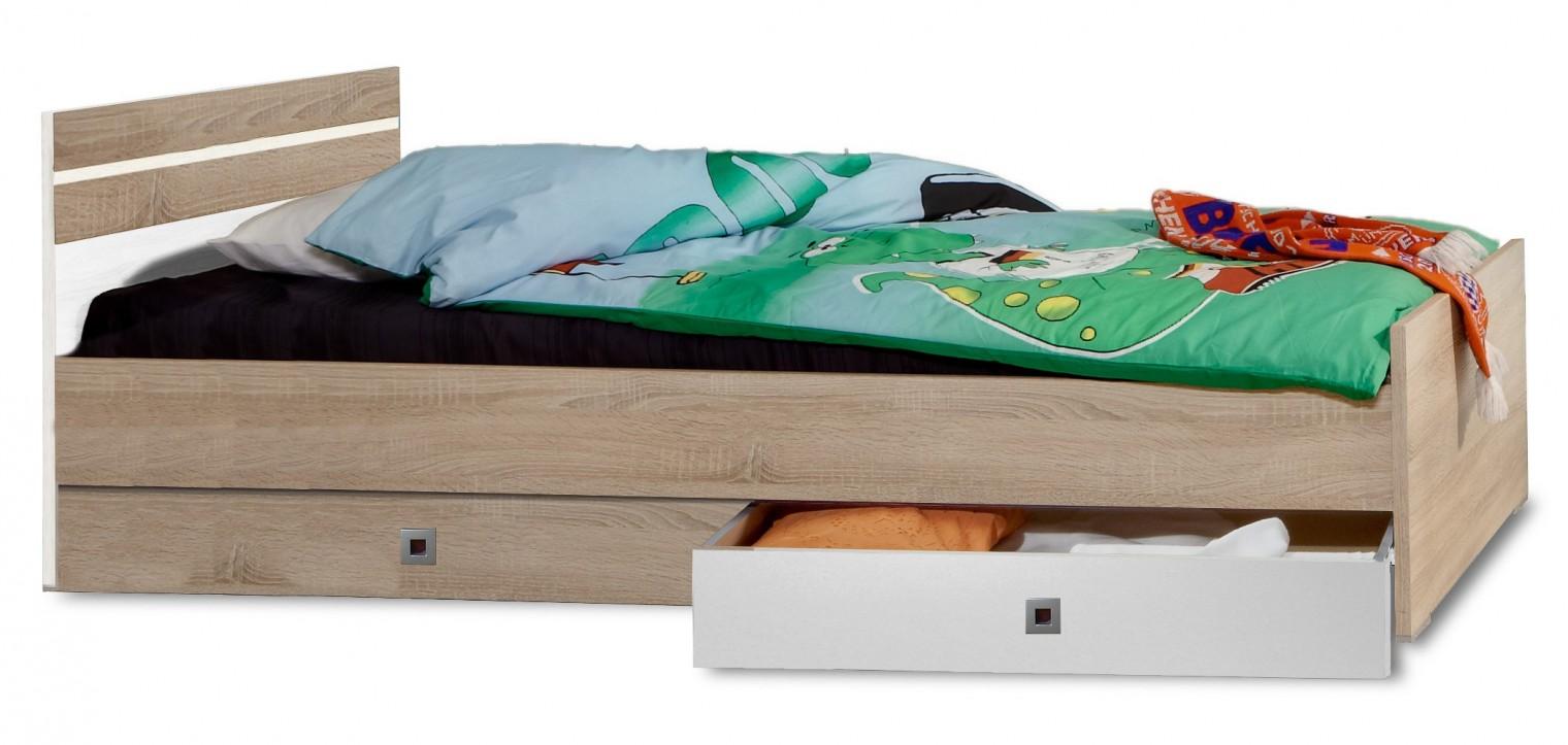 Klasická posteľ Game - Posteľ, 90x200, úložný priestor (biela, dub)