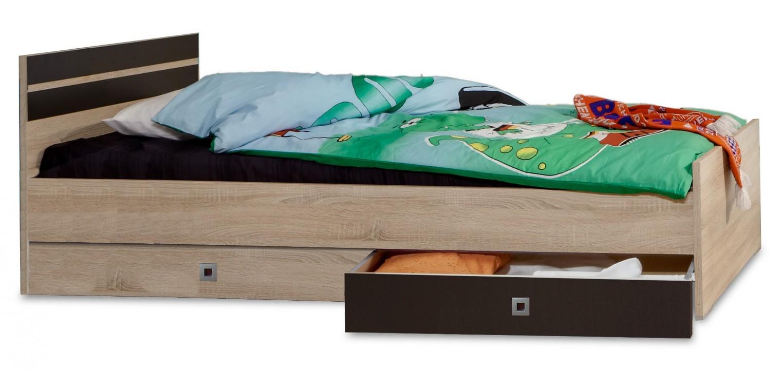 Klasická posteľ Game - Posteľ, 90x200, úložný priestor (dub, čierna)