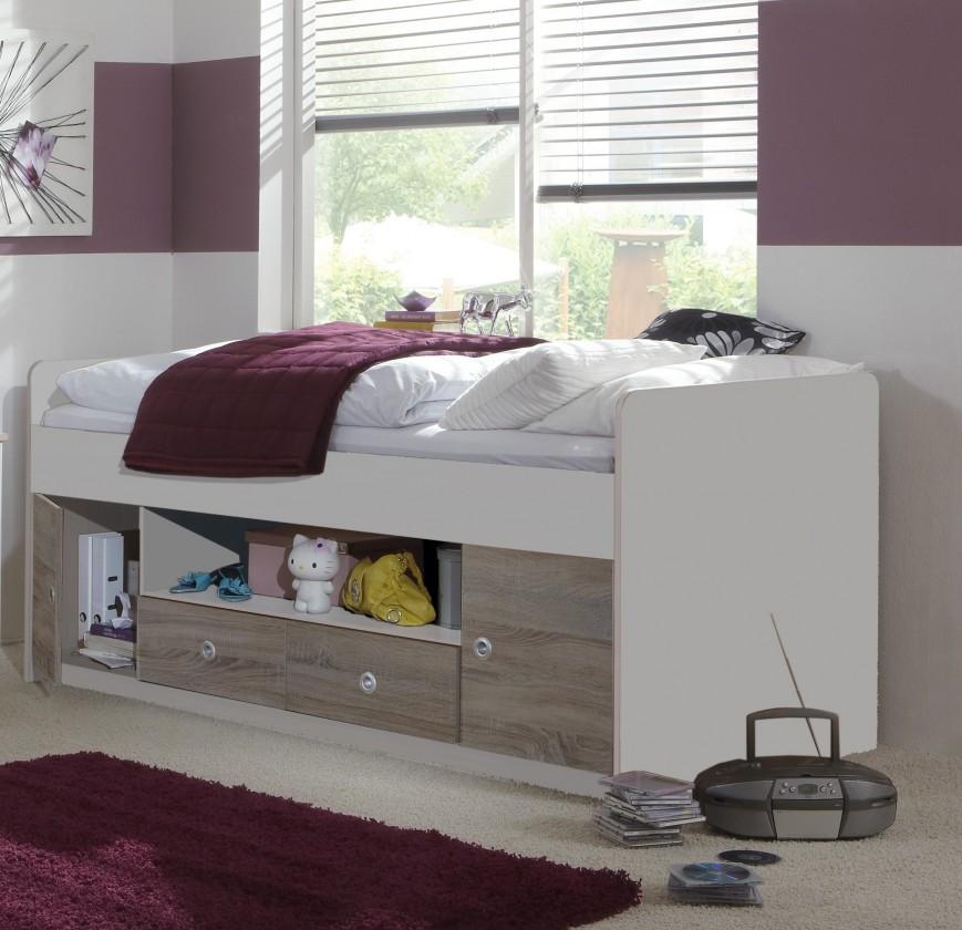 Klasická posteľ Jette - 360467 (alpská biela / dub montana)