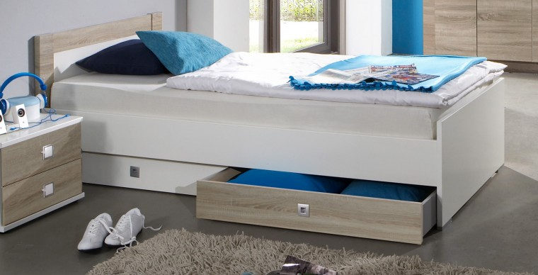 Klasická posteľ Kira-325299(alpská biela / dub pílený)