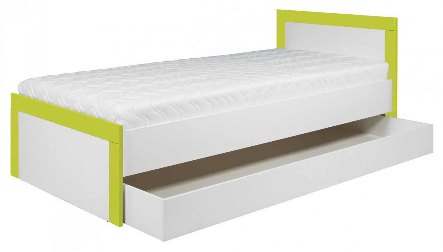 Klasická posteľ Lightning - Posteľ 90x200cm (biela, akvamarín)