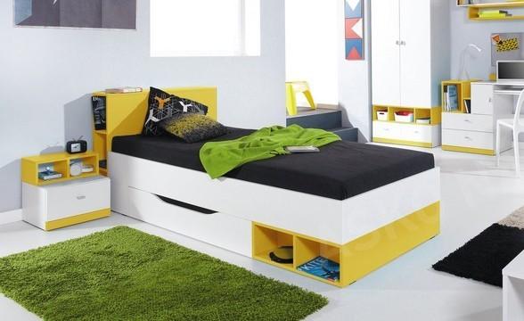 Klasická posteľ MOBI MO 18 (biela lesk/žltá)