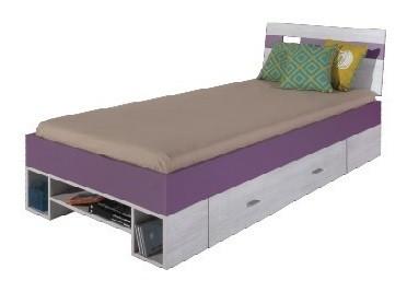 Klasická posteľ NEXT NX 19 (borovica/fialová)