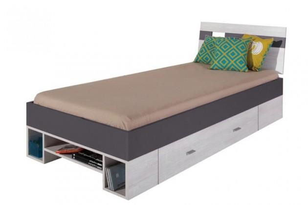 Klasická posteľ NEXT NX 19 (borovica/sivá)